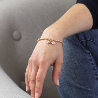 Pink pearl bracelet with rose gold heart and smoky crystal | Image 5