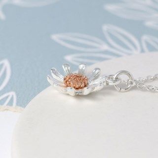 Silver plated daisy necklace with rose gold detail | Image 3
