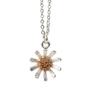 Silver plated daisy necklace with rose gold detail | Image 5