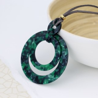 Green mix acrylic multi hoop necklace on grey cord | Image 3