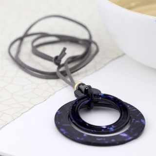Blue mix acrylic multi hoop necklace on grey cord | Image 2