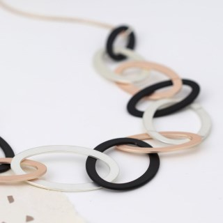 Mixed metallic linked hoop long necklace with matt finish | Image 4
