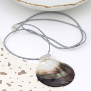 Shell and silver plated matt disc necklace on grey cord | Image 2