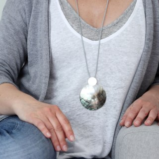 Shell and silver plated matt disc necklace on grey cord | Image 7