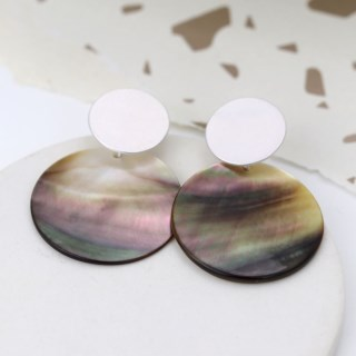 Shell and silver plated matt disc earrings | Image 4