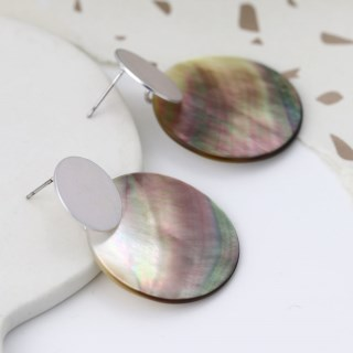 Shell and silver plated matt disc earrings | Image 3