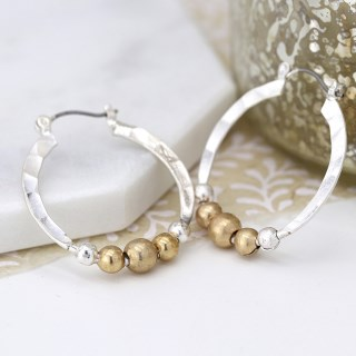 Silver plated textured hoop earrings with golden beads | Image 3
