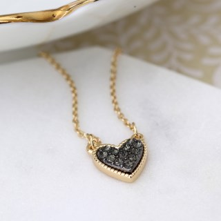 Gold plated heart necklace with black crystal centre | Image 3