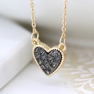 Gold plated heart necklace with black crystal centre | Image 2