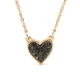 Gold plated heart necklace with black crystal centre | Image 6