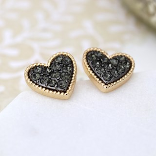 Gold plated heart stud earrings with black crystal centre | Image 2