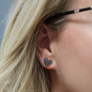 Gold plated heart stud earrings with black crystal centre | Image 3