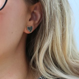 Gold plated heart stud earrings with black crystal centre | Image 4