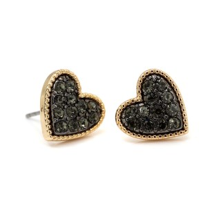 Gold plated heart stud earrings with black crystal centre | Image 5