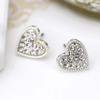 Silver plated heart and crystal stud earrings | Image 2