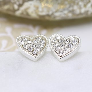 Silver plated heart and crystal stud earrings | Image 5