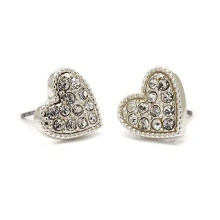 Silver plated heart and crystal stud earrings | Image 4