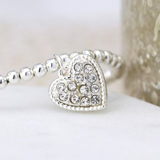 Silver plated bracelet with crystal inset heart | Image 2