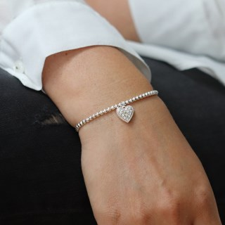 Silver plated bracelet with crystal inset heart | Image 3