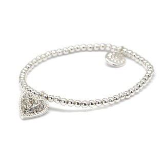 Silver plated bracelet with crystal inset heart | Image 5