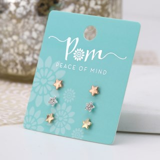 Triple star earring set in gold, rose gold and silver plating with crystals. | Image 4