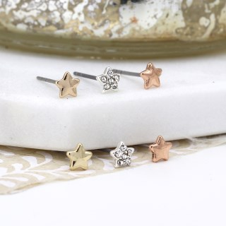 Triple star earring set in gold, rose gold and silver plating with crystals. | Image 2
