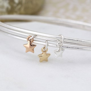 Triple bangle set with silver, gold and rose gold plated star charms | Image 2