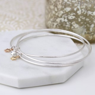 Triple bangle set with silver, gold and rose gold plated star charms | Image 6