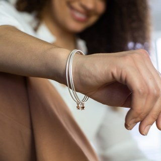 Triple bangle set with silver, gold and rose gold plated star charms | Image 3