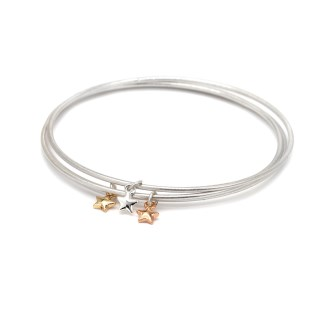 Triple bangle set with silver, gold and rose gold plated star charms | Image 5
