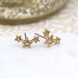 Gold plated triple star earrings with crystals and a worn finish | Image 2