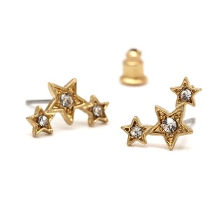 Gold plated triple star earrings with crystals and a worn finish | Image 5