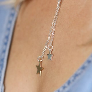 Silver and gold plated double star lariat necklace | Image 4