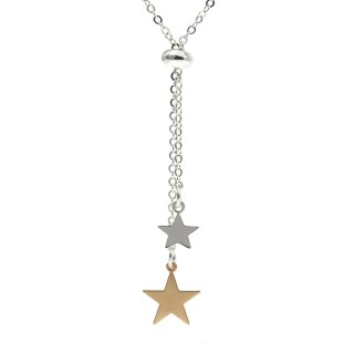 Silver and gold plated double star lariat necklace | Image 5