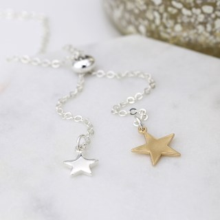 Silver and gold plated double star lariat necklace | Image 2