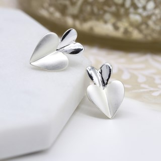 Silver plated and epoxy resin double heart stud earrings | Image 2