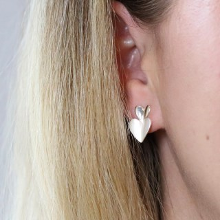 Silver plated and epoxy resin double heart stud earrings | Image 3