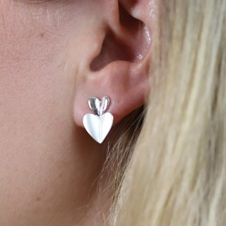 Silver plated and epoxy resin double heart stud earrings | Image 4
