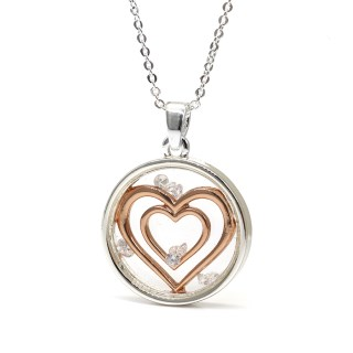 Circle necklace with enclosed rose gold hearts and crystals | Image 6