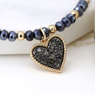 Black crystal and golden bead bracelet with heart charm | Image 2