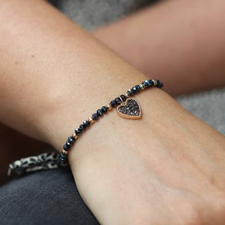 Black crystal and golden bead bracelet with heart charm | Image 4