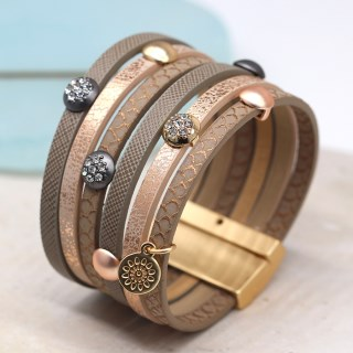 Multi strand leather bracelet with mixed metal crystal studs | Image 2