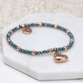 Rose gold and blue bead bracelet with rose gold heart | Image 3
