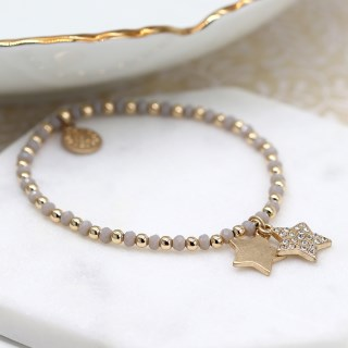 Gold and grey bead bracelet with double star and crystal charms | Image 3
