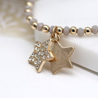 Gold and grey bead bracelet with double star and crystal charms | Image 2