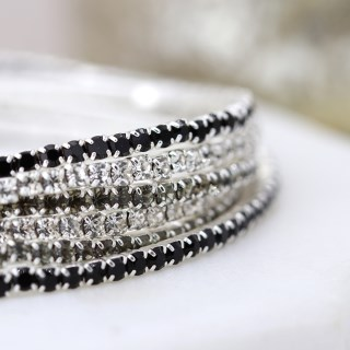 Multi strand silver plated and monochrome crystal bracelets | Image 2