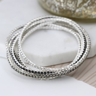 Multi strand silver plated and monochrome crystal bracelets | Image 3