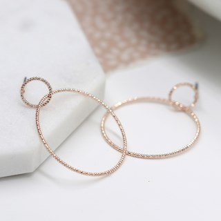 Rose gold plated double textured hoop stud earrings | Image 5