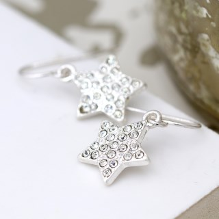 Silver plated crystal inset star drop earrings | Image 3