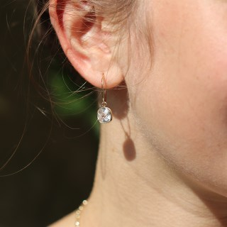 Gold plated fine hoop and square crystal drop earrings | Image 2
